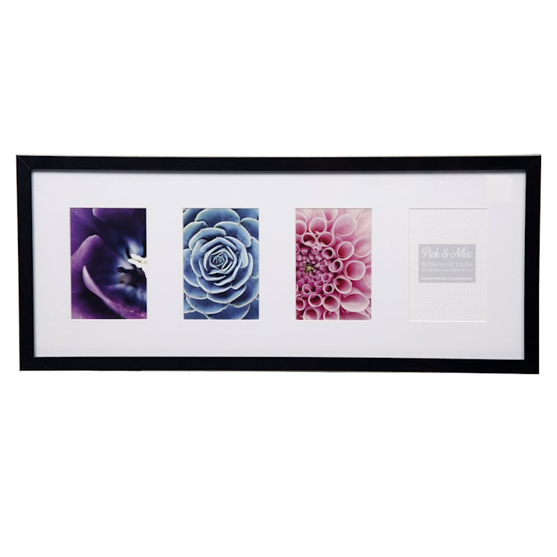 Pick And Mix 4-Opening 4X6 Black With White Mat Linear Collage Photo Frame
