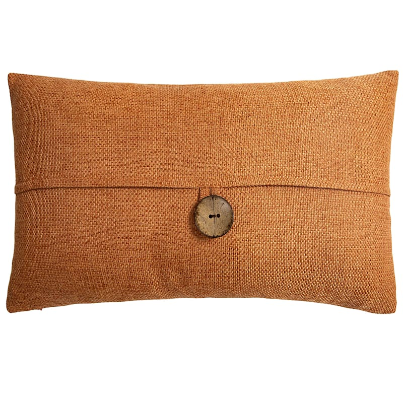 Clayton Orange Feather Filled Coconut Button Pillow 13X24
