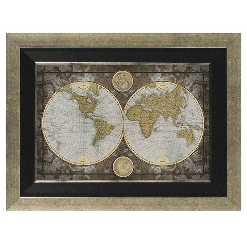 24X36 World Map Framed Textured