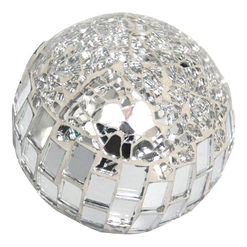 4in. Crackle With Tiled Glass Mosaic Sphere