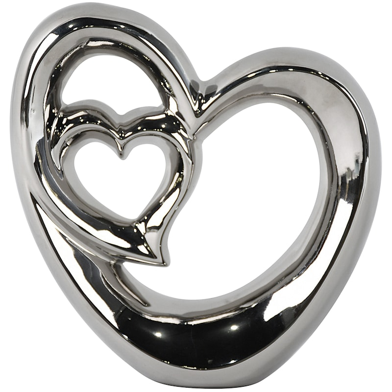 9X9 Ceramic Silver Heart Decoration