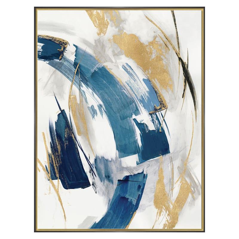 31X41 Indigo Crescent Ii Framed Embellished Canvas