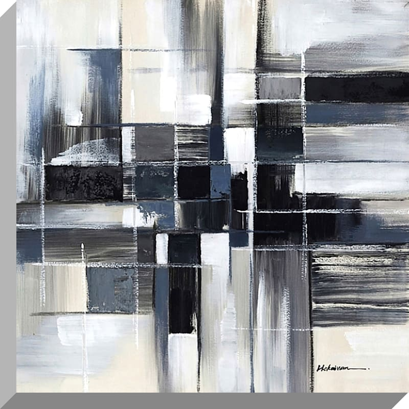 40X40 Grey Patterned Squares Enhanced Canvas