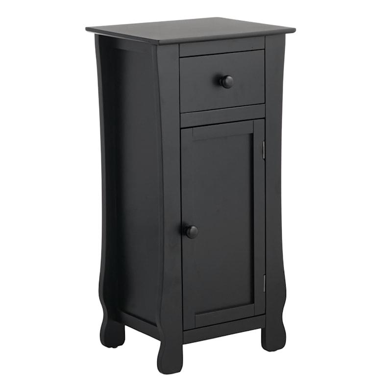 Black One Drawer Thick Leg Cabinet