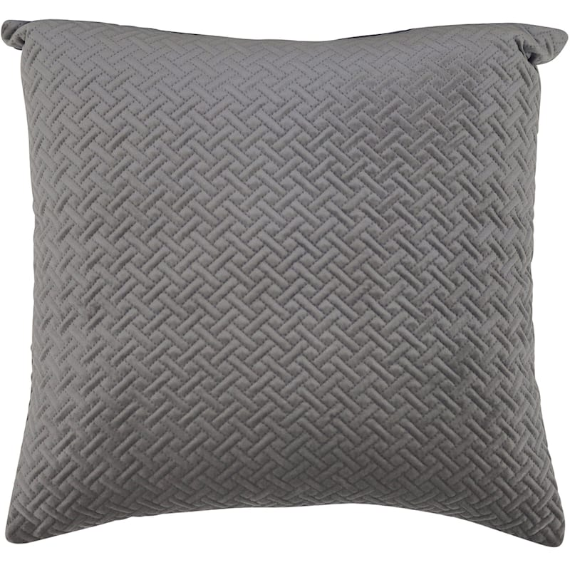 Wicker Park Grey Pinsonic Plush Pillow 18X18