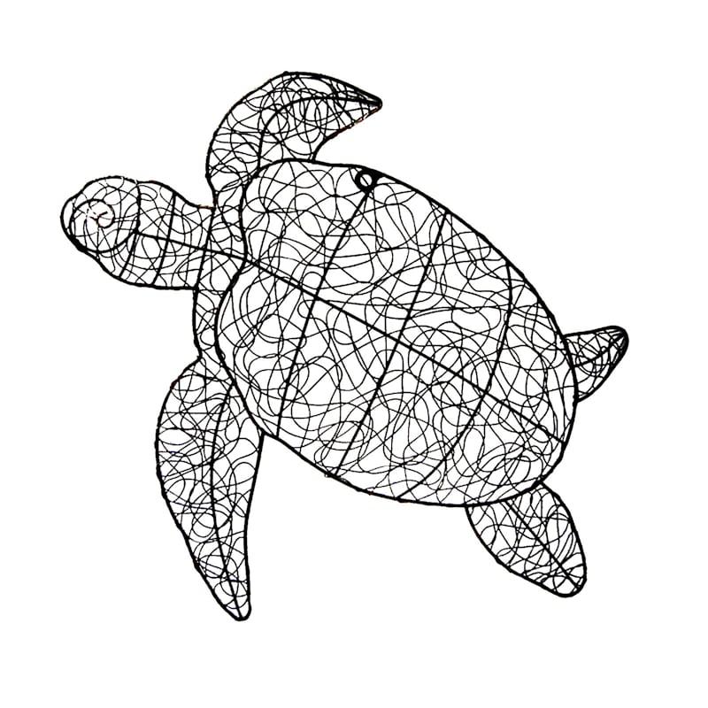 24X23 Metal Black Twist Wire Turtle Wall Decor