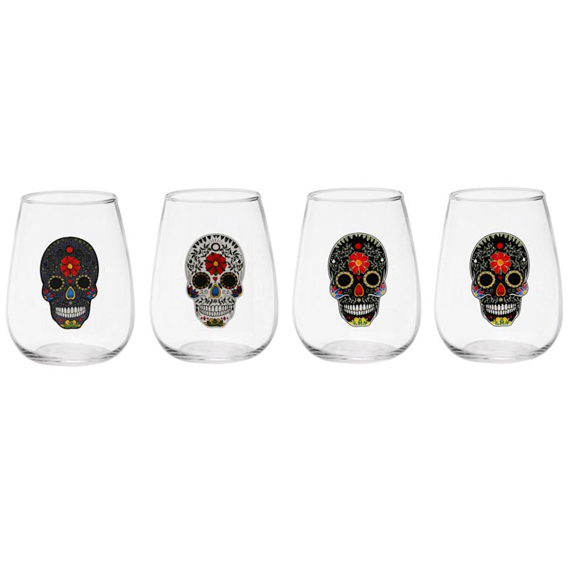 Sugar Skull Decaled Stemless Wine Glass Set 4
