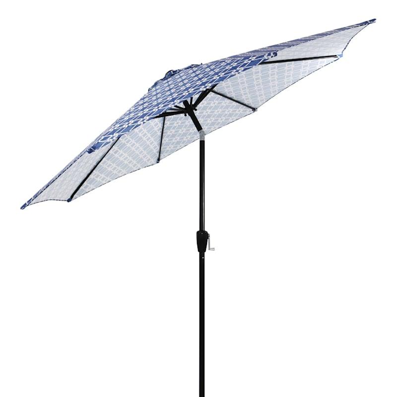 Steel Navy Lattice Round Crank And Tilt Outdoor Umbrella, 9'