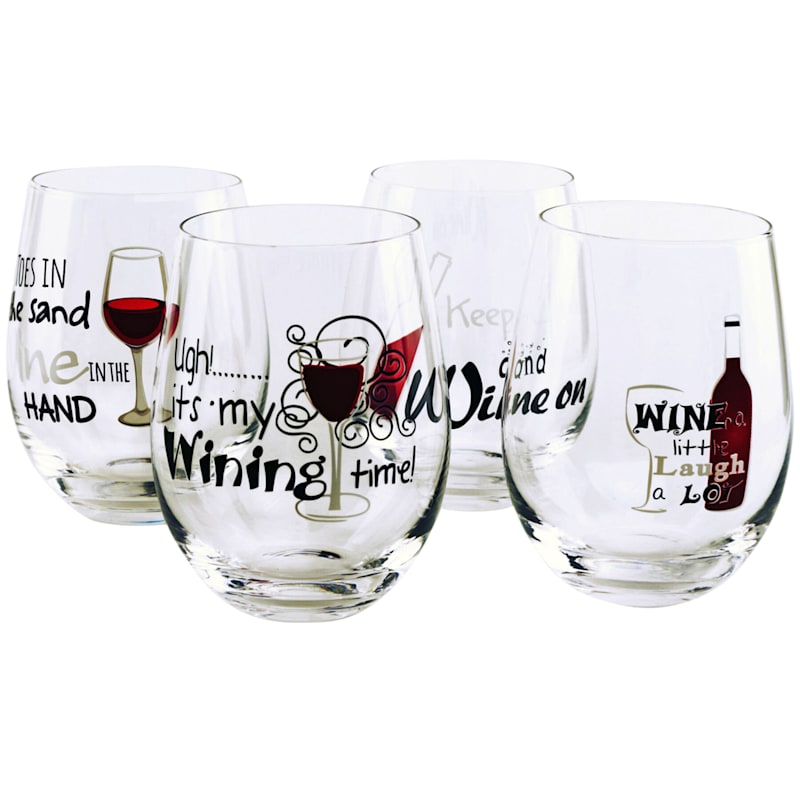 Wine Sayings Decaled Stemless Wine Glass Set 4