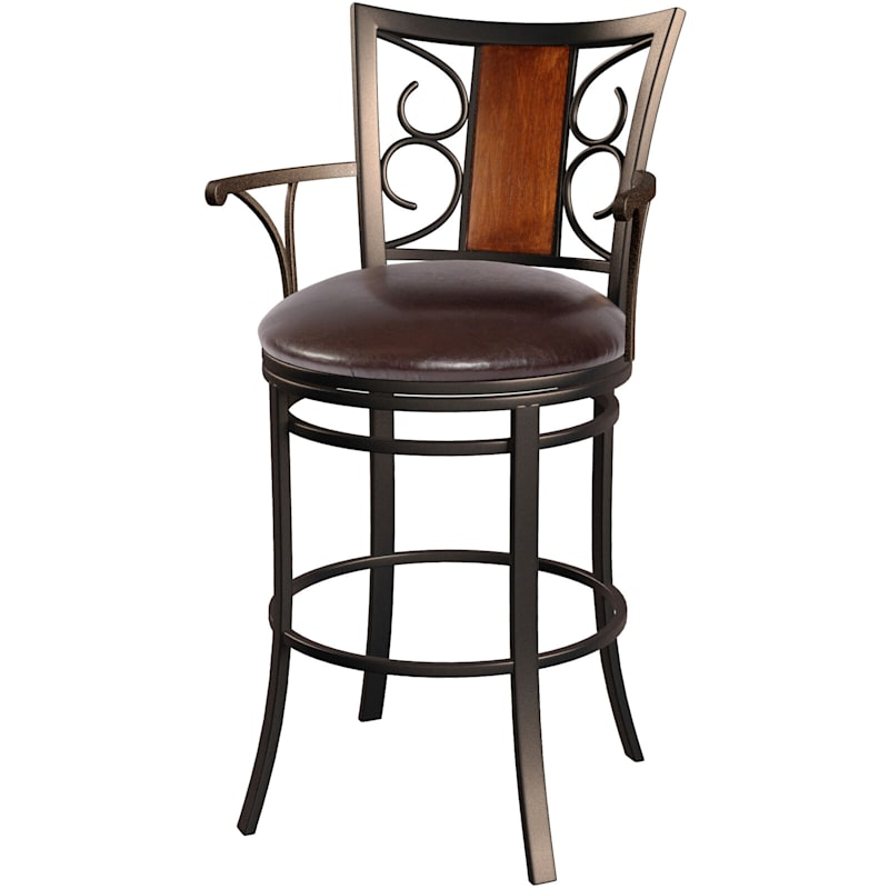 Rebecca Oversized Brown Metal Swivel Barstool with Faux Leather Upholsterd Seat