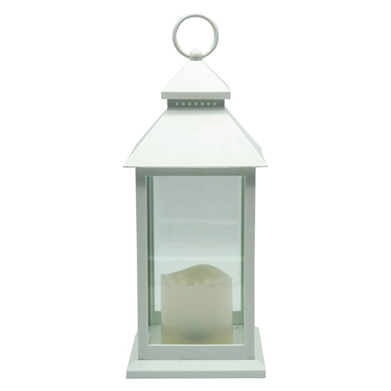 5X12 Weather Proof Led Lantern W/Candle Timer Function White