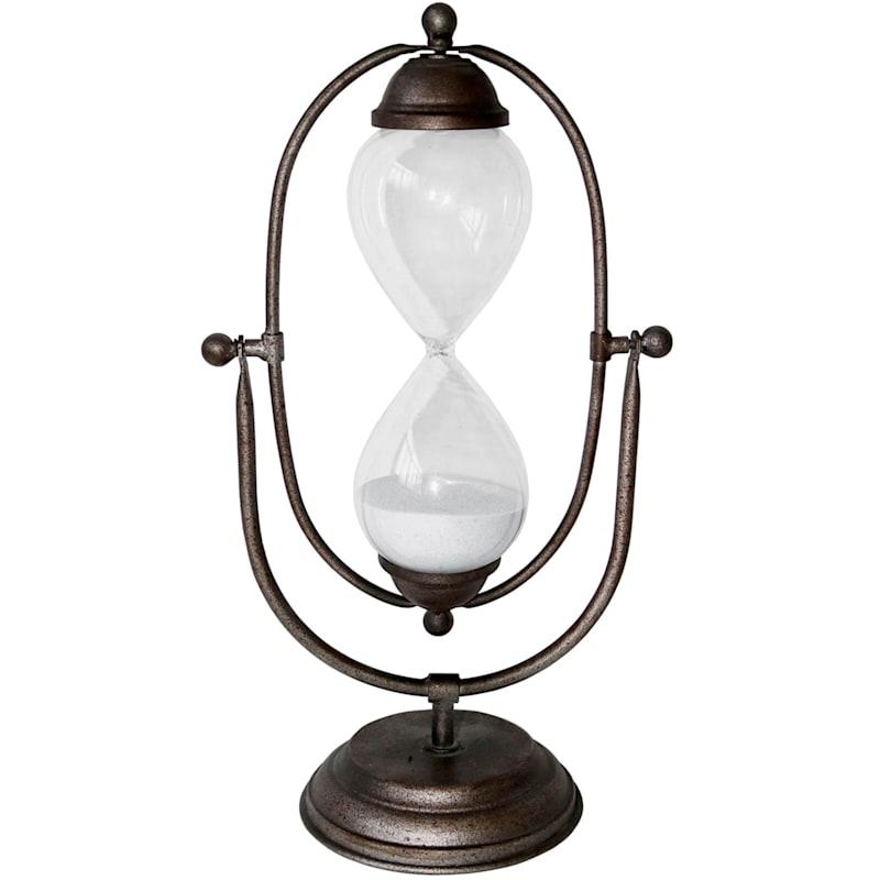 6X12 Metal Glass Brown Hourglass On Stand