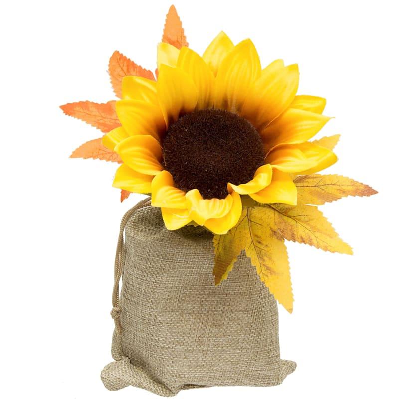 "Yellow Sunflower in Burlap Bag, 6.5"""