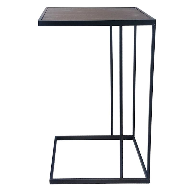 Metal C Table With Dark Wood Top Black