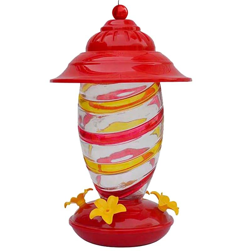 24oz Hand Painted Swirl Glass Hummingbird Feeder