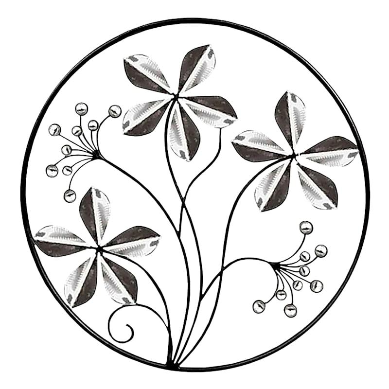 18X18 Silver Leaf Metal Circle