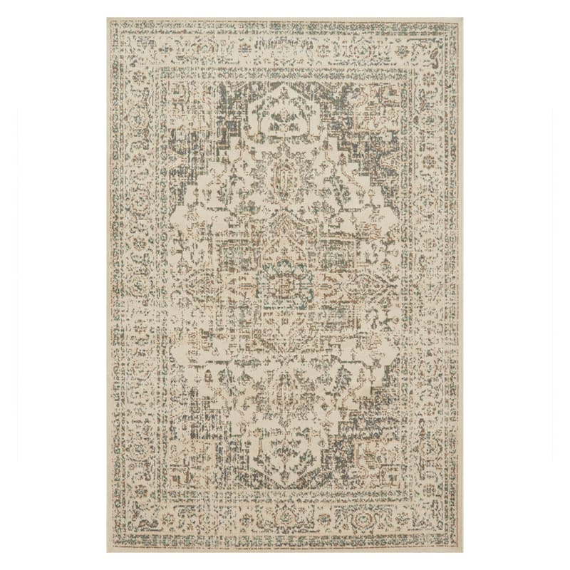 (D385) Norwich Medallion Ivory Area Rug, 7x9