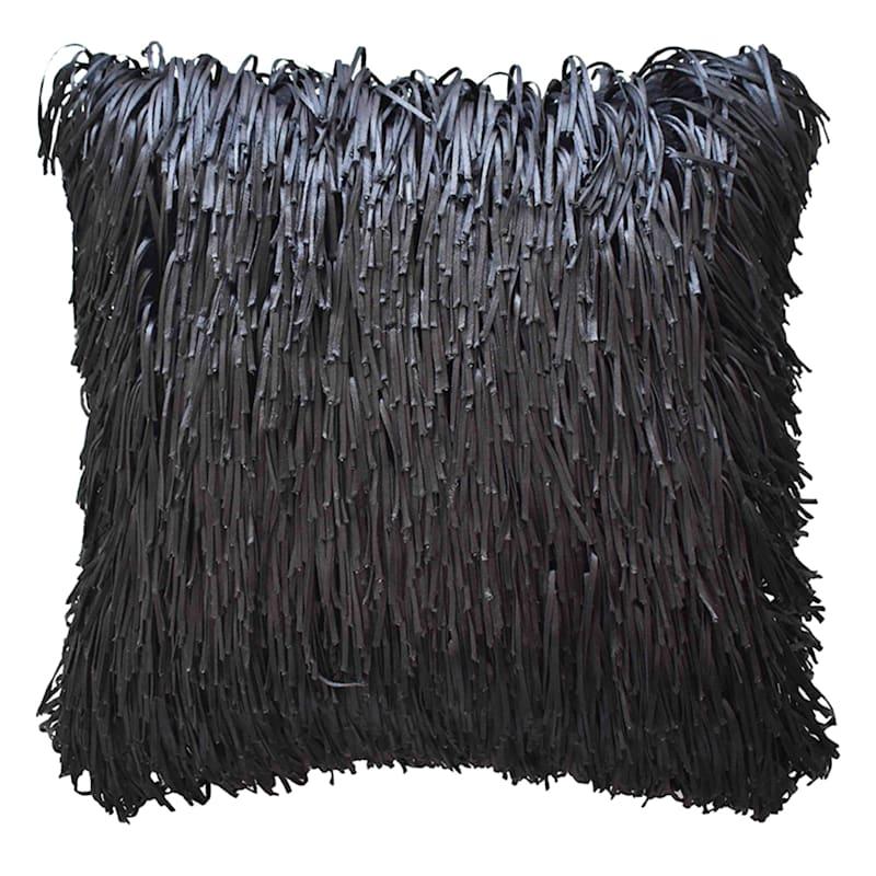 18in. Shag Black Throw Pillow