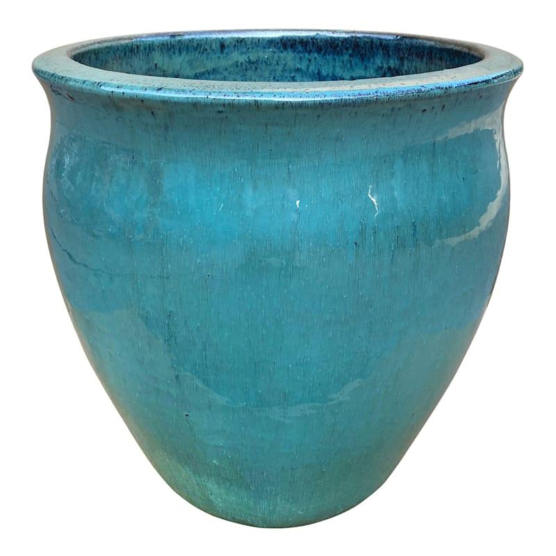 Flare Ceramic Planter 13.8in. Aqua