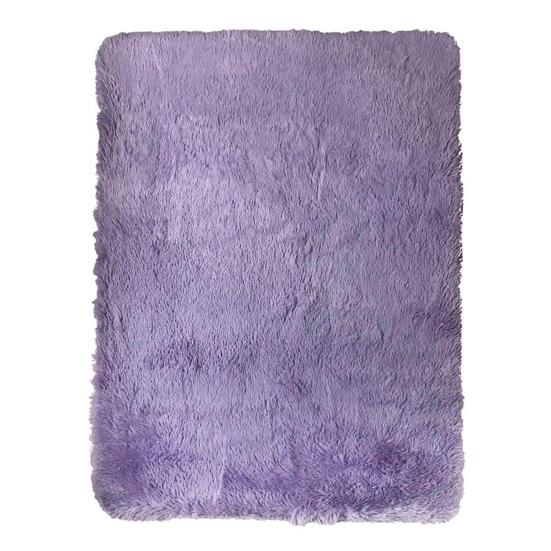 Faux Fur Purple Accent Rug, 2x4