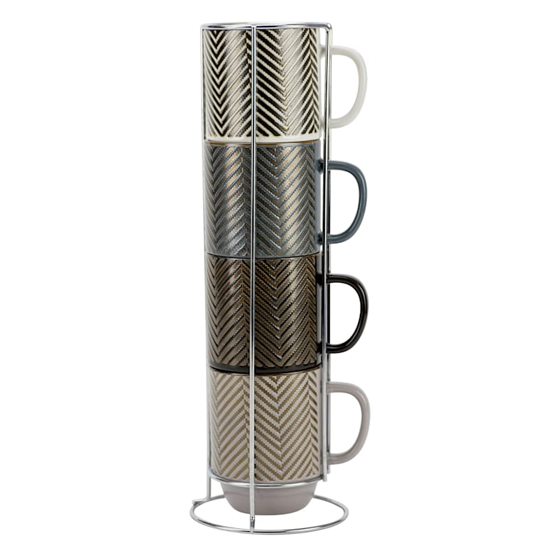14oz Stacked Chevron Set Of Four Mugs Metal Rack Assorted Colors