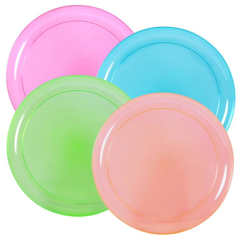 Neon Pink Green Orange Blue 9in. Plastic Plate Party Dimensions