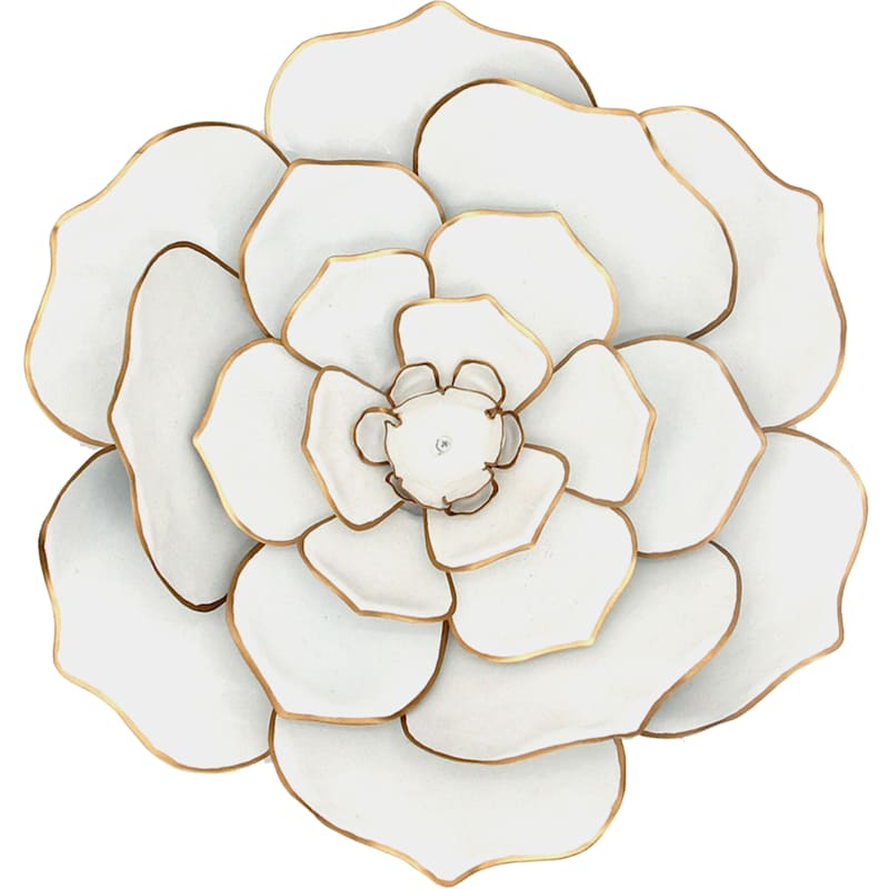 16in. White/Gold Metal Flower Wall Decor