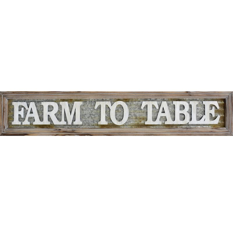 8X44 Farm To Table Lifted Words Framed Metal Plaque