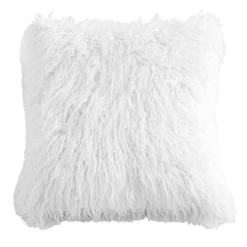 Luca White Faux Fur Pillow 18X18
