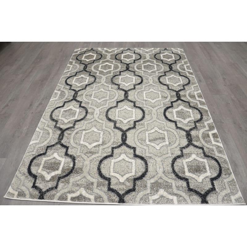 (B281) Grey & Black Trellis Design, 3x5