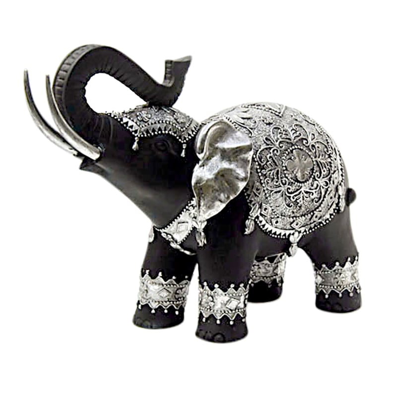 12X5X10 Black/Silver Resin Elephant