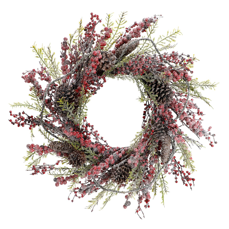 """Snow, Berry & Pinecone Wreath, 24"""""""