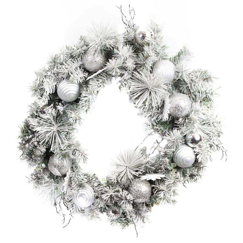 "Silver Ornament Flocked Wreath, 30"""