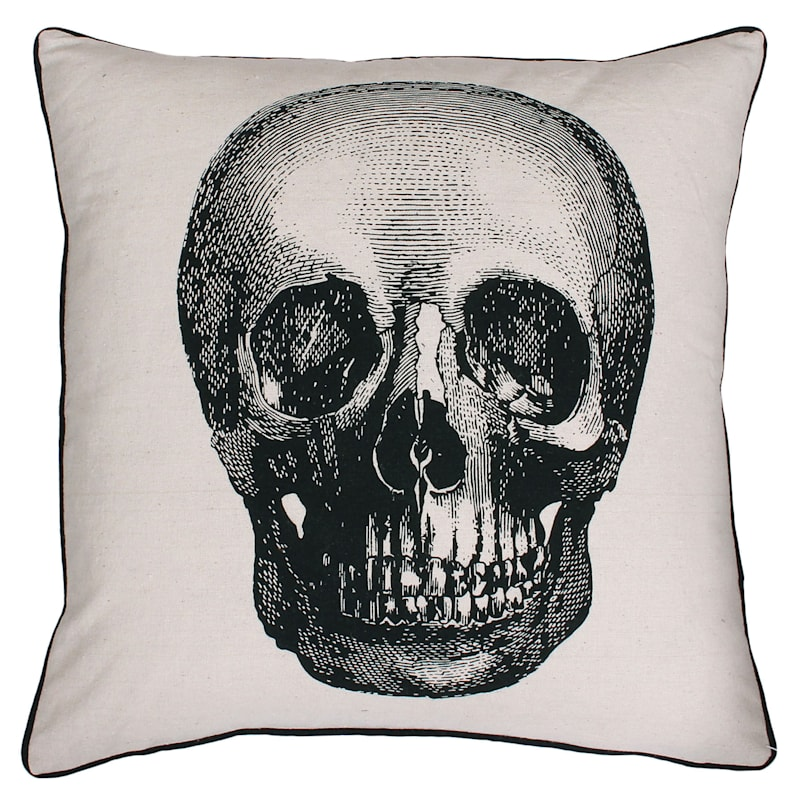 "Black & White Skull Throw Pillow, 18"""