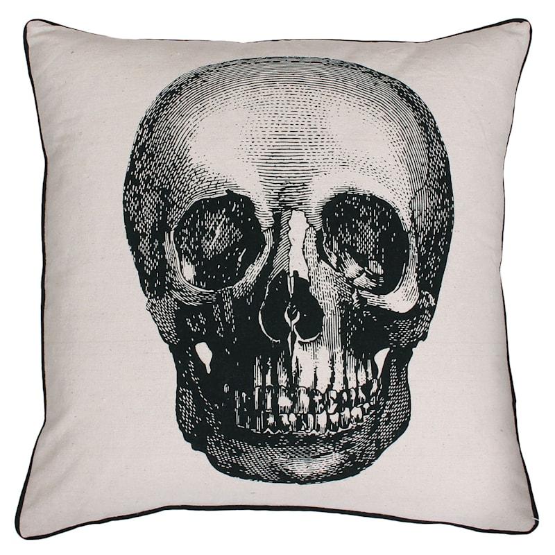 "Black & White Skull Throw Pillow,18"""