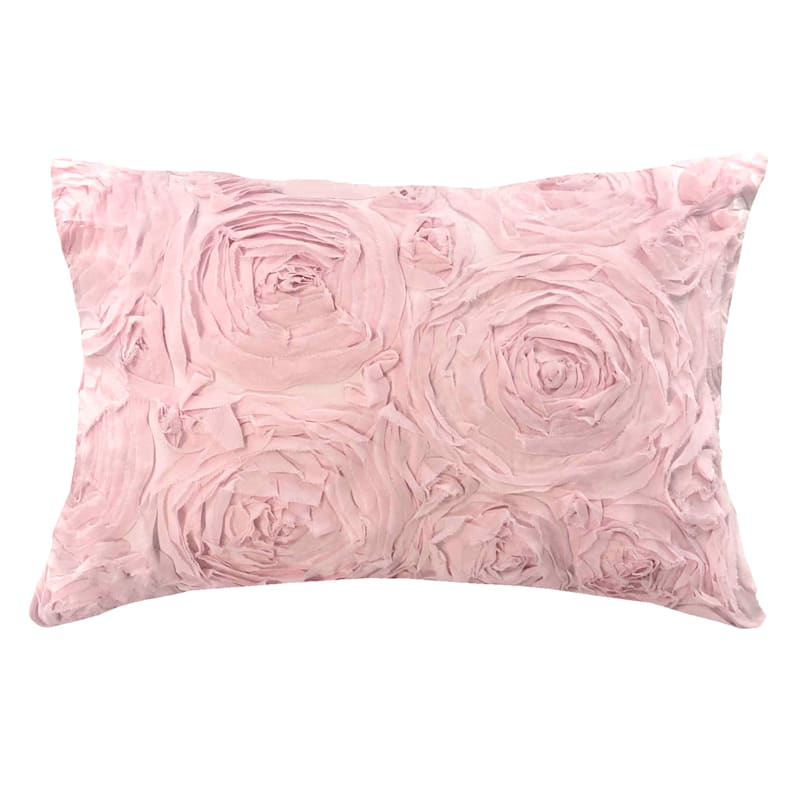 """Roses Ruched Throw Pillow, 12"""""""