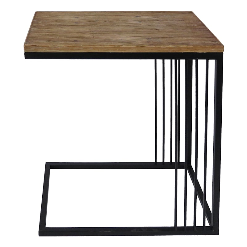 Wood Top C Table With Metal Base