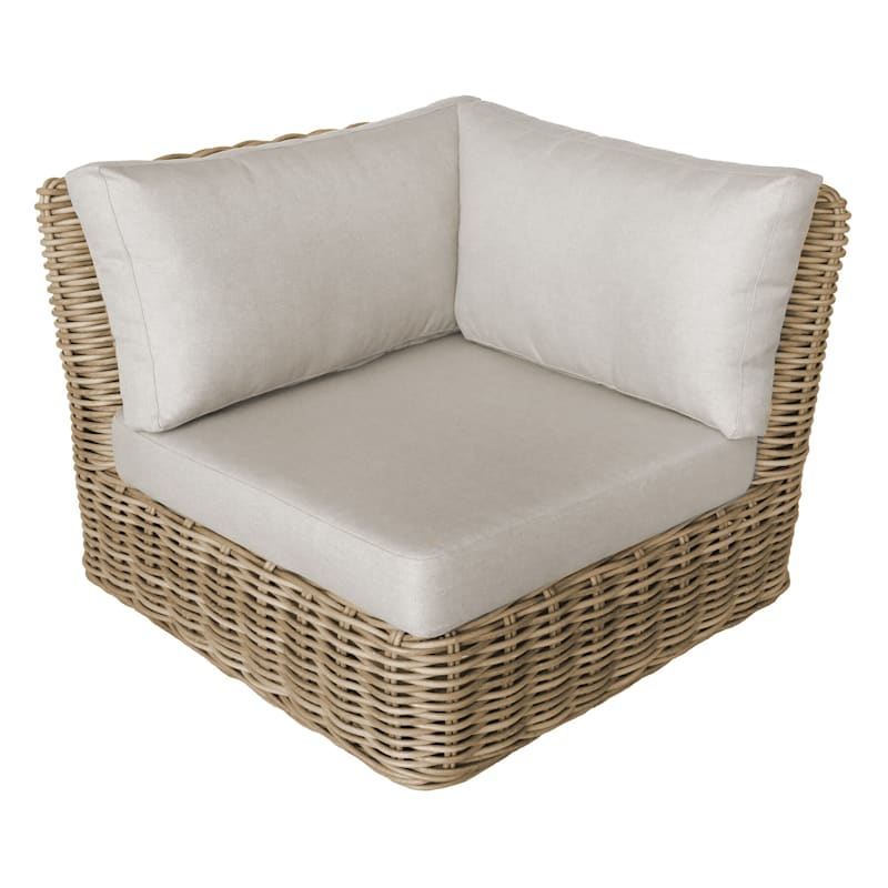 Hamptons All Weather Wicker Corner Chair with Cushion