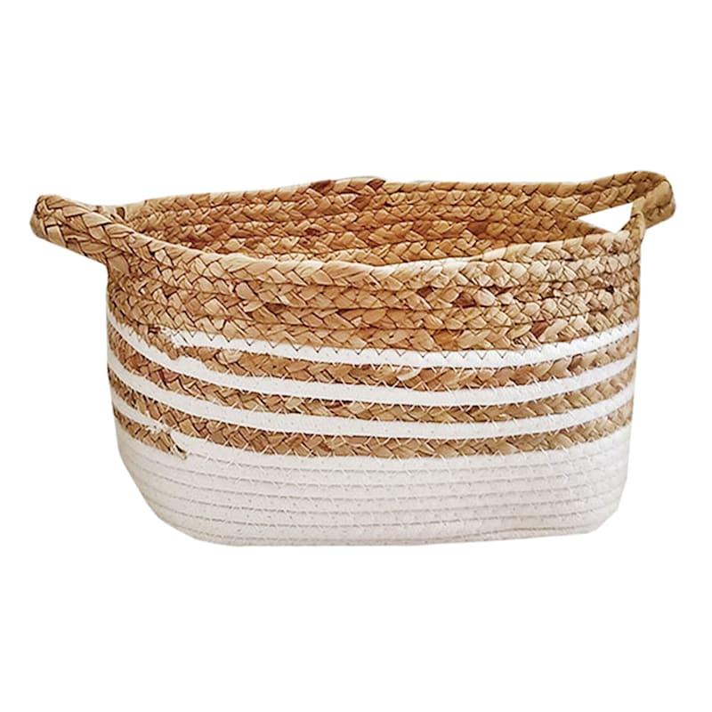 Small Rectangle Water Hyacinth Basket/White Stripe
