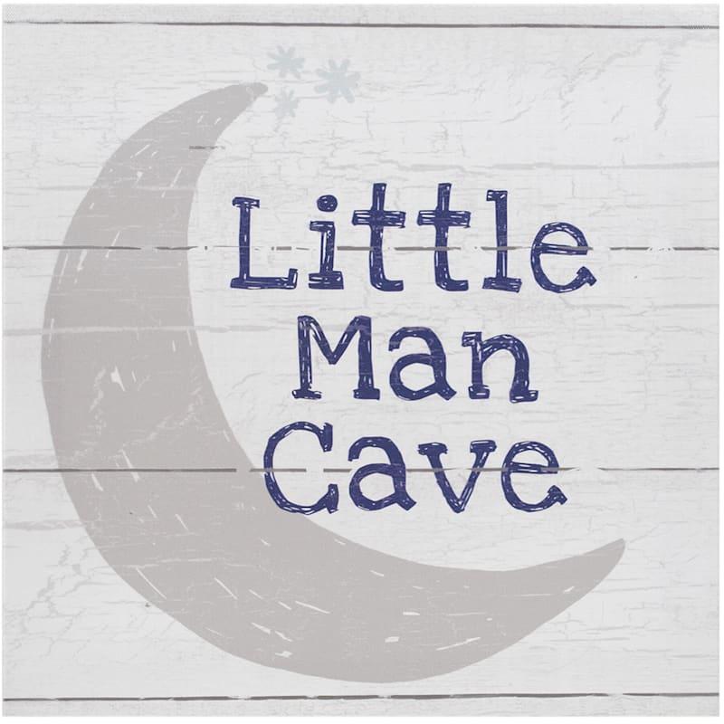 12X12 Moon Plank Little Man Cave Canvas Wall Art