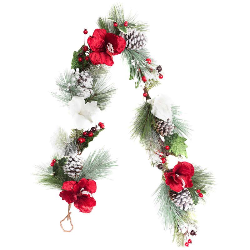 Poinsettia & Berry Flocked Garland, 6'