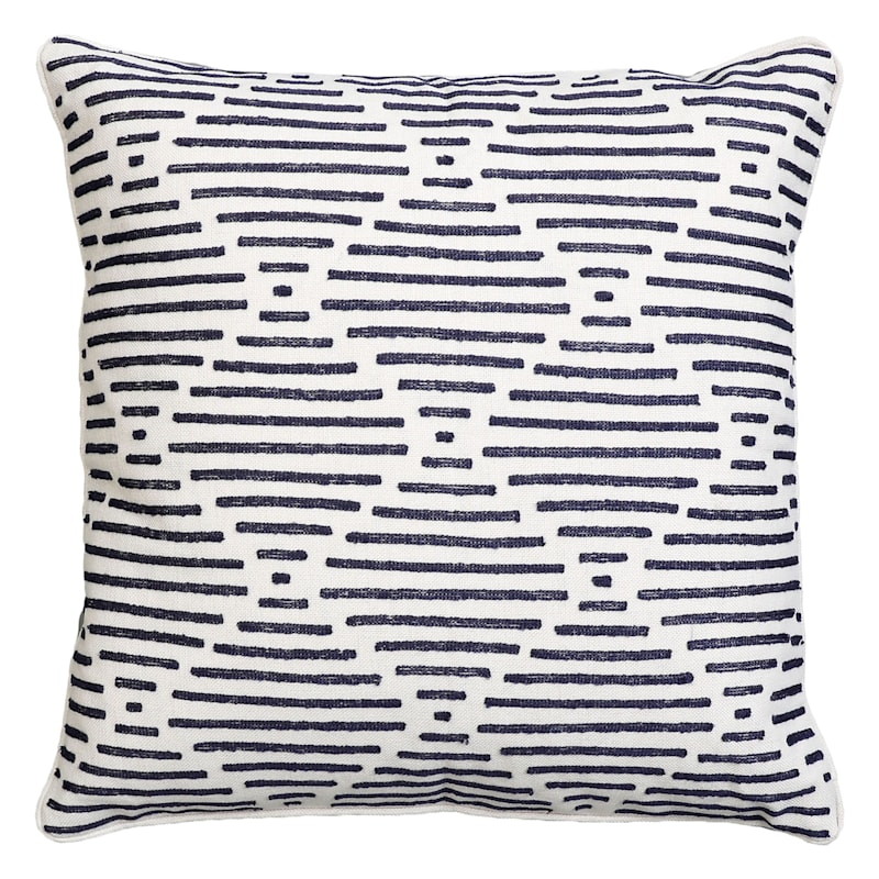 """Everdell Blue Embroidered Throw Pillow, 22"""""""