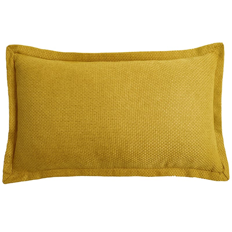 Shiloh Yellow Faux Linen Pillow With 1in. Flange 14X24