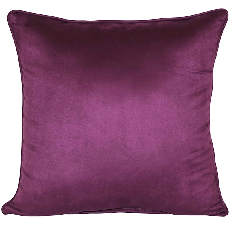 Purple Heavy Faux Suede Pillow 18X18