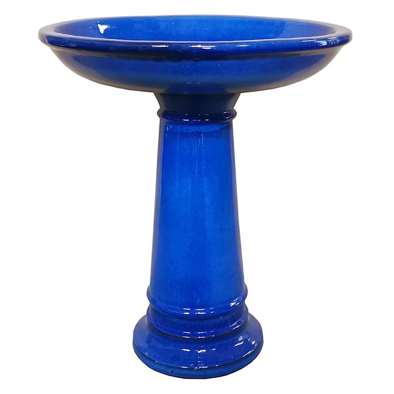 Beauly Ceramic Birdbath 22.8in. Blue