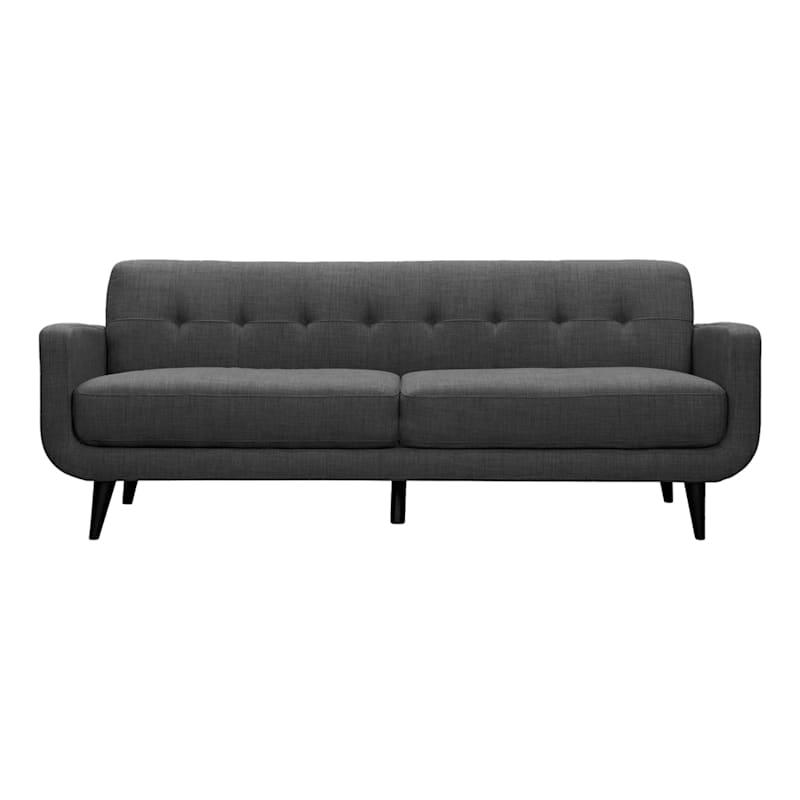 """Hadley Charcoal Grey Tufted Back Sofa, 85"""""""