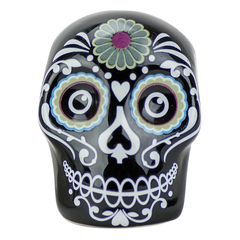 Day Of The Dead Skull Salt/Pepper Shakers Set Of 2 Assorted Colors