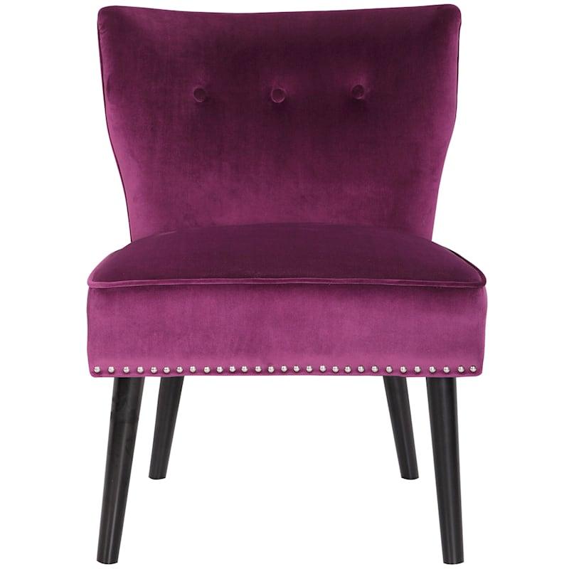 Jasper Plum Velvet Tufted Accent Chair