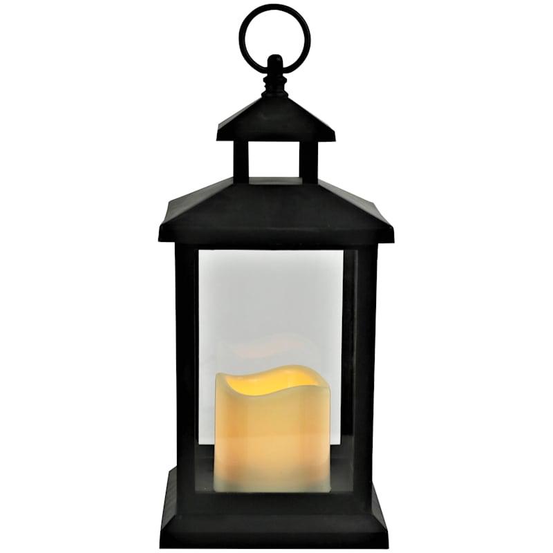6X12 Led Plastic Lantern With 6 Hour Timer Black