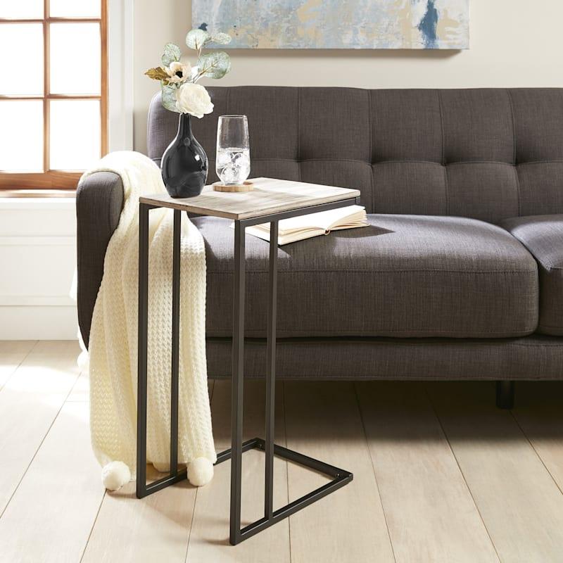 Wood Top C Table With Gunmetal Metal Base Grey